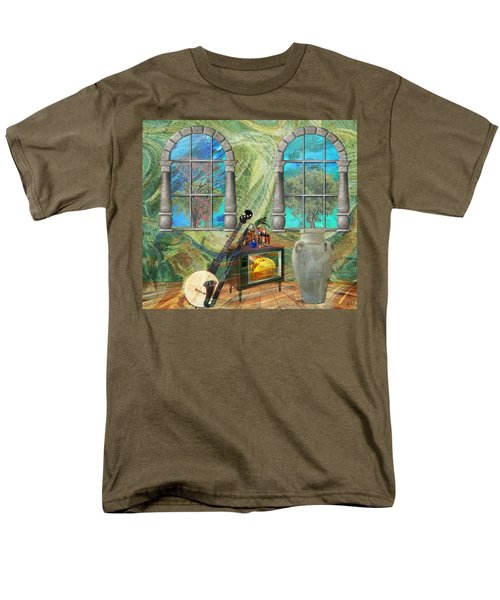 Men's T-Shirt  (Regular Fit) featuring the mixed media Banjo Room by Ally  White