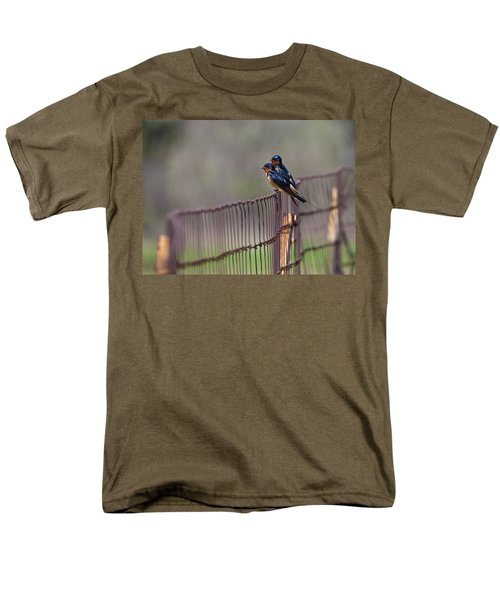 Barn Swallows On The Fence Men's T-Shirt  (Regular Fit) by Mark Alder