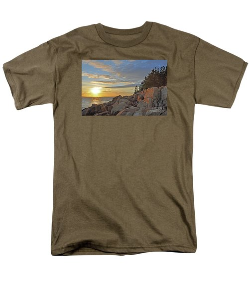 Men's T-Shirt  (Regular Fit) featuring the photograph Bass Harbor Lighthouse Sunset Landscape by Glenn Gordon