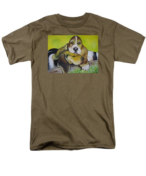 Men's T-Shirt  (Regular Fit) featuring the painting Bassett Hound Pups by Leslie Manley