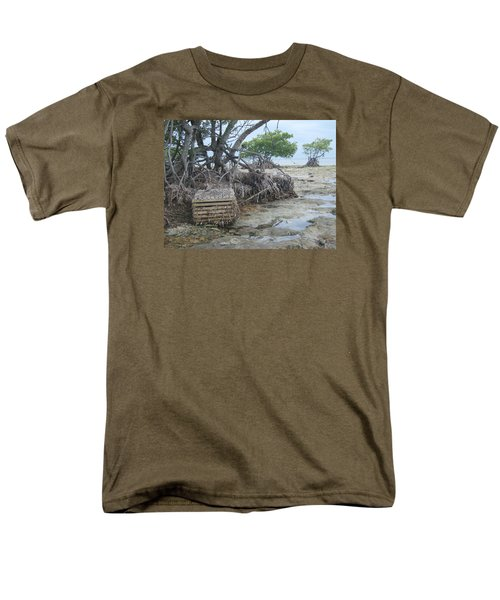 Men's T-Shirt  (Regular Fit) featuring the photograph Beached Lobster Trap by Robert Nickologianis