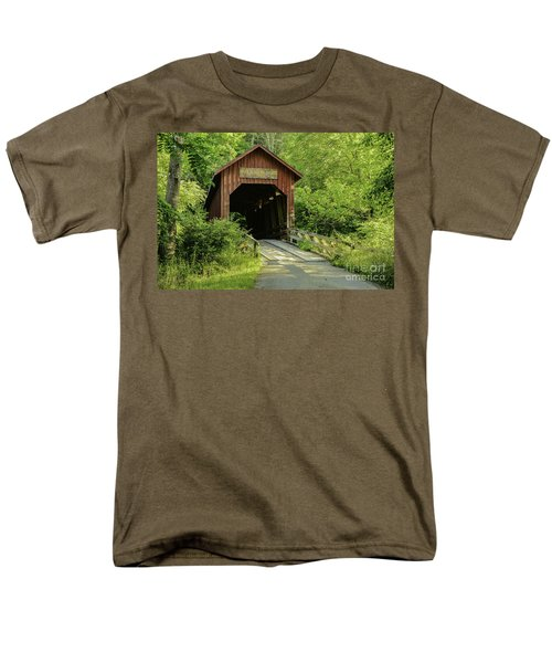 Bean Blossom Covered Bridge Men's T-Shirt  (Regular Fit) by Mary Carol Story