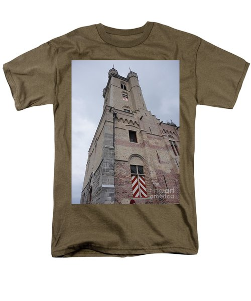 Men's T-Shirt  (Regular Fit) featuring the photograph Belfry In Sluis Holland by PainterArtist FIN
