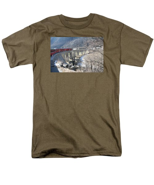 Men's T-Shirt  (Regular Fit) featuring the photograph Bernina Express In Winter by Travel Pics