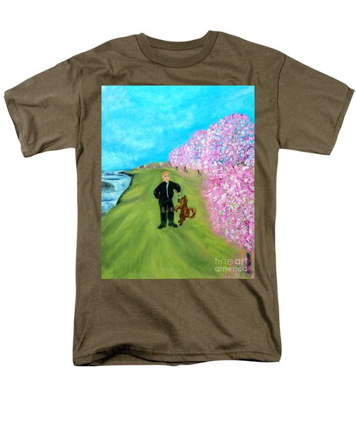 Men's T-Shirt  (Regular Fit) featuring the painting Best Friends. Painting. Promotion by Oksana Semenchenko