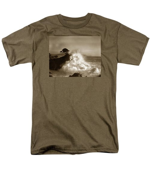 Big Wave Hitting The Lone Cypress Tree Pebble Beach California 1916 Men's T-Shirt  (Regular Fit) by California Views Mr Pat Hathaway Archives
