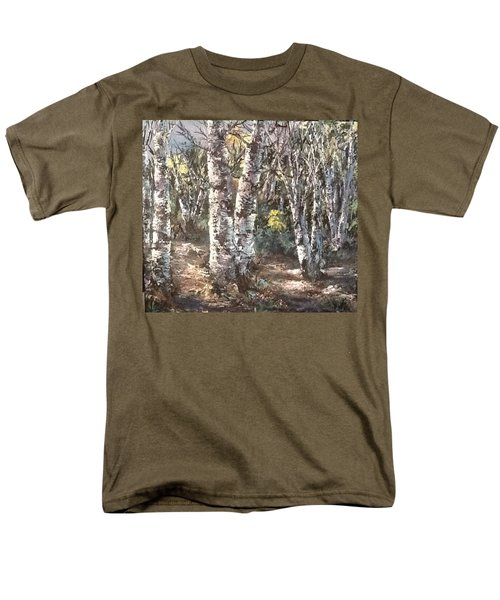 Men's T-Shirt  (Regular Fit) featuring the painting Birches by Megan Walsh
