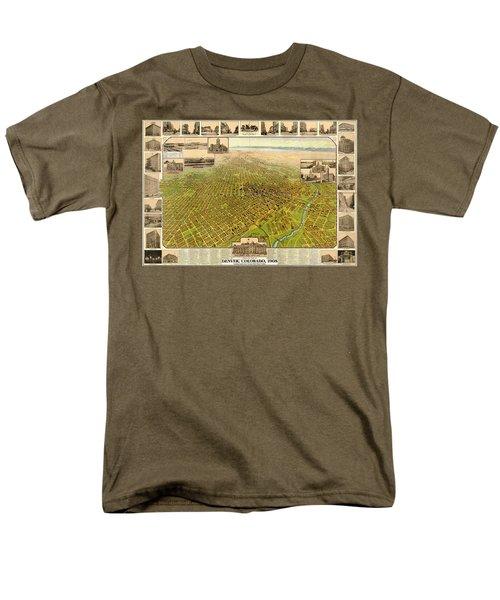 Birdseye Map Of Denver Colorado - 1908 Men's T-Shirt  (Regular Fit) by Eric Glaser