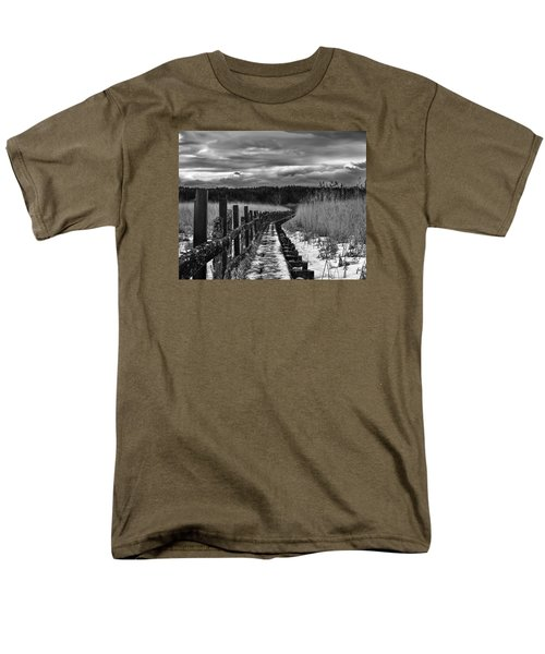 Men's T-Shirt  (Regular Fit) featuring the photograph black and White Danger 2 bordway cover with slippery ice by Leif Sohlman
