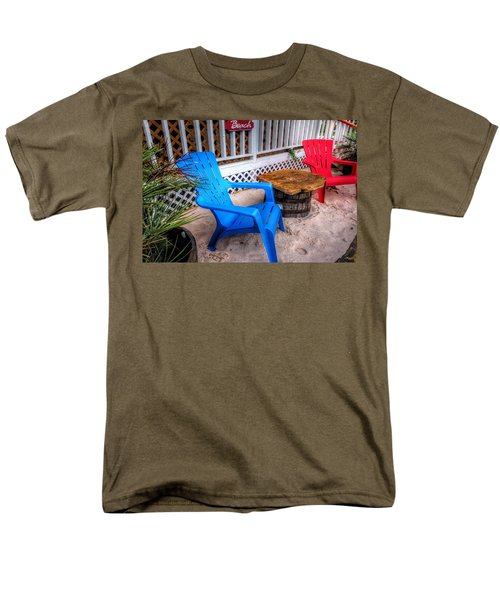 Men's T-Shirt  (Regular Fit) featuring the digital art Blue And Red Chairs by Michael Thomas