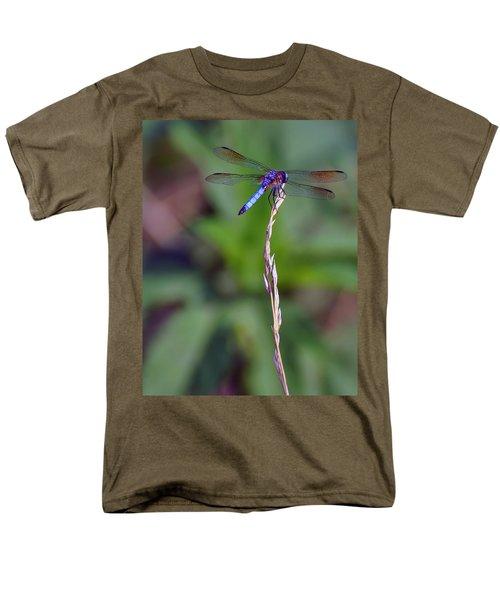 Blue Dragonfly On A Blade Of Grass  Men's T-Shirt  (Regular Fit) by Chris Flees