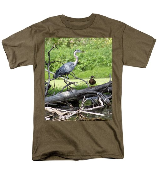 Blue Heron And Friend Men's T-Shirt  (Regular Fit) by Debbie Hart