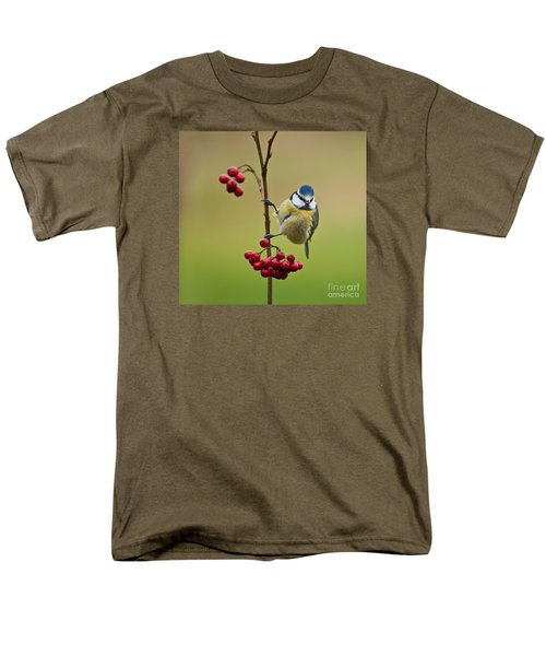 Blue Tit With Hawthorn Berries Men's T-Shirt  (Regular Fit) by Liz Leyden
