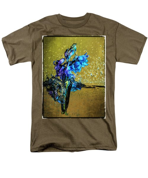 Men's T-Shirt  (Regular Fit) featuring the mixed media Bluebells In Water Splash by Peter v Quenter