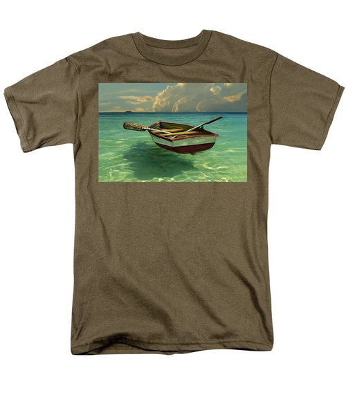 Men's T-Shirt  (Regular Fit) featuring the painting Boat In Clear Water by David  Van Hulst