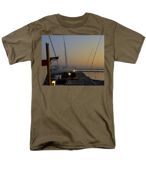 Boats Moored To Pier At Sunset Men's T-Shirt  (Regular Fit) by Charles Beeler