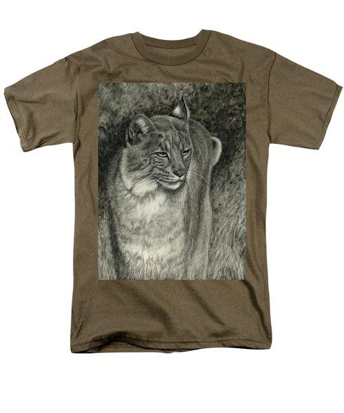 Men's T-Shirt  (Regular Fit) featuring the drawing Bobcat Emerging by Sandra LaFaut