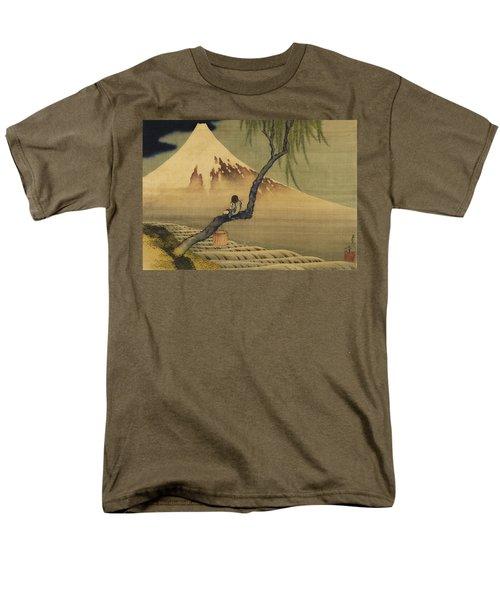 Boy Viewing Mount Fuji Men's T-Shirt  (Regular Fit) by Katsushika Hokusai
