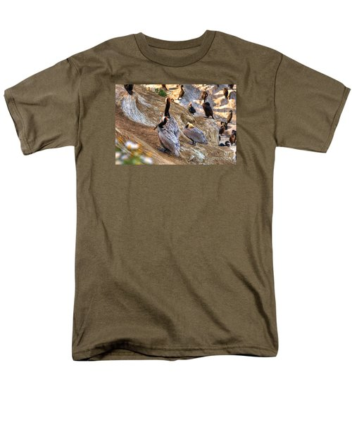 Men's T-Shirt  (Regular Fit) featuring the photograph Brown Pelicans At Rest by Jim Carrell