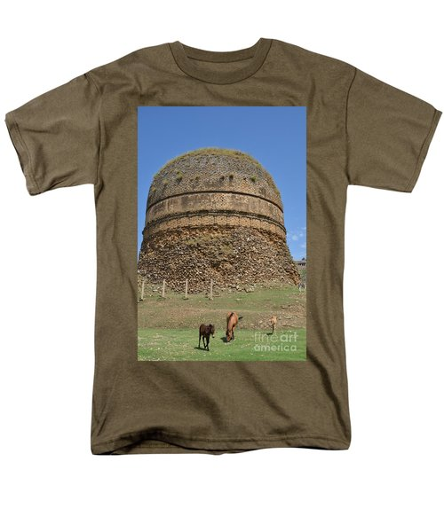 Men's T-Shirt  (Regular Fit) featuring the photograph Buddhist Religious Stupa Horse And Mules Swat Valley Pakistan by Imran Ahmed