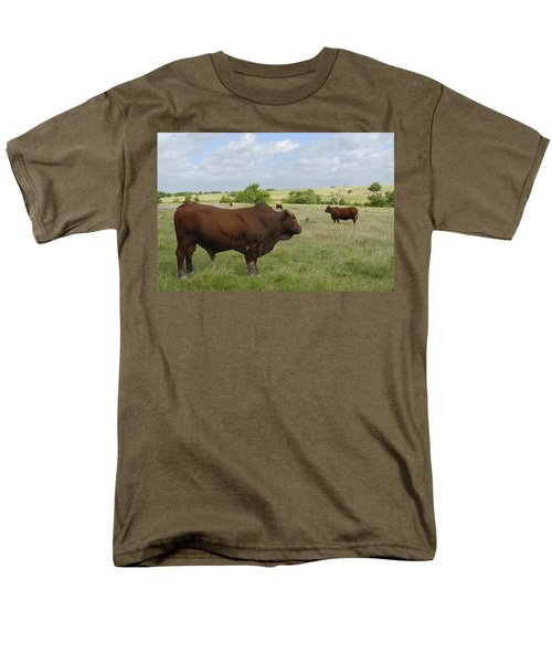 Men's T-Shirt  (Regular Fit) featuring the photograph Bull And Cattle by Charles Beeler