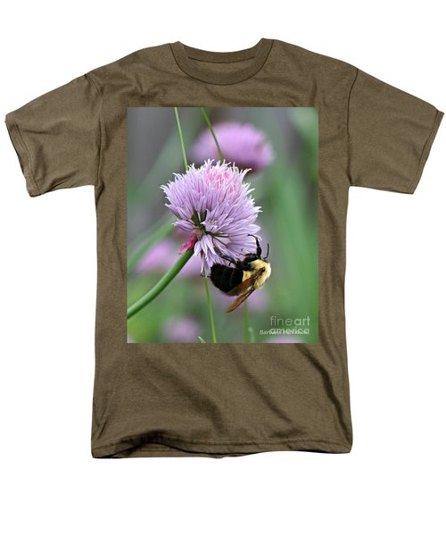Men's T-Shirt  (Regular Fit) featuring the photograph Bumblebee On Clover by Barbara McMahon