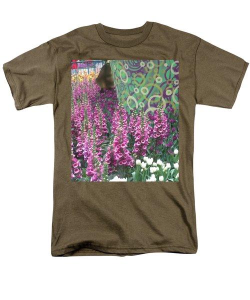 Butterfly Garden Purple White Flowers Painted Wall Men's T-Shirt  (Regular Fit) by Navin Joshi