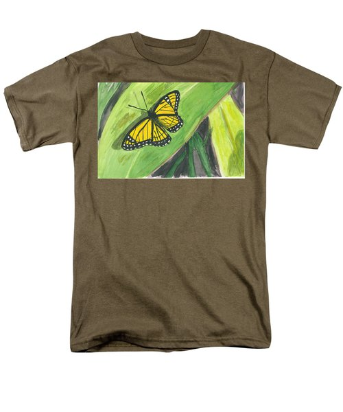 Men's T-Shirt  (Regular Fit) featuring the painting Butterfly In Vermont Corn Field by Donna Walsh