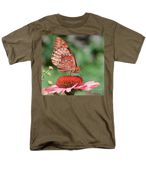 Butterfly Sipping A Coneflower Men's T-Shirt  (Regular Fit) by Amy Porter