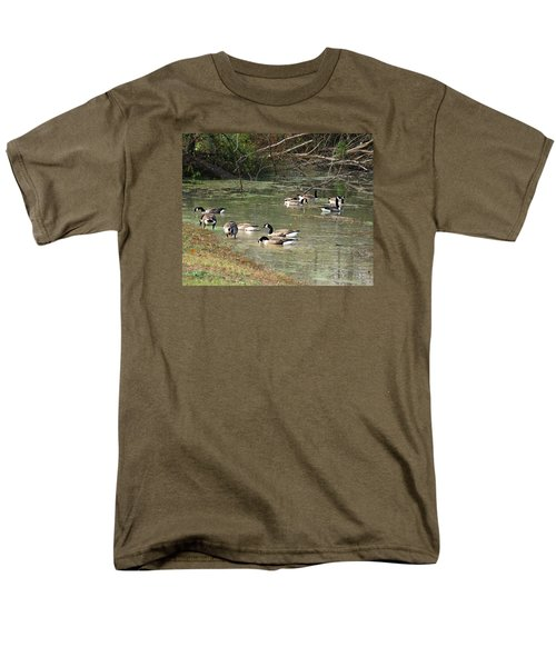Men's T-Shirt  (Regular Fit) featuring the photograph Canadian Geese Feeding In Backwaters by William Tanneberger