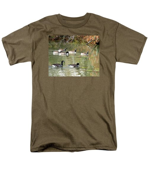 Men's T-Shirt  (Regular Fit) featuring the photograph Canadian Geese Swimming In Backwaters by William Tanneberger