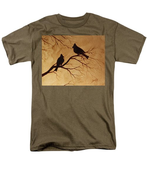 Men's T-Shirt  (Regular Fit) featuring the painting Cardinals Silhouettes Coffee Painting by Georgeta  Blanaru