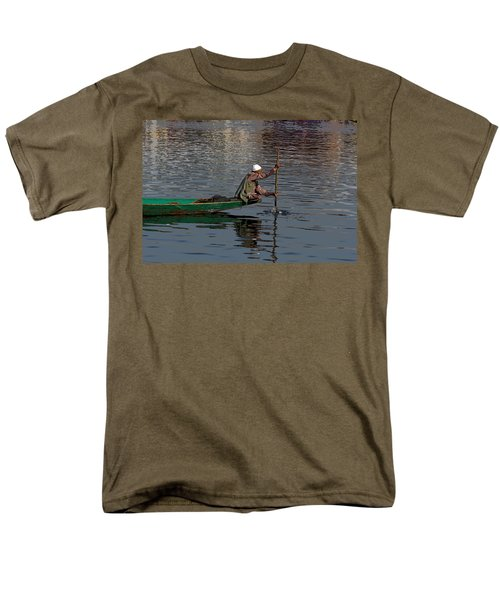 Cartoon - Man Plying A Wooden Boat On The Dal Lake Men's T-Shirt  (Regular Fit) by Ashish Agarwal