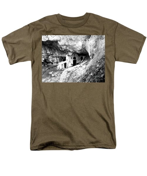 Men's T-Shirt  (Regular Fit) featuring the photograph cave church on Mt Olympus Greece by Nina Ficur Feenan