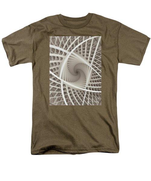 Centered White Spiral-fractal Art Men's T-Shirt  (Regular Fit) by Karin Kuhlmann