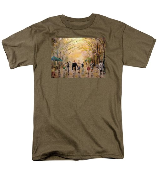 Men's T-Shirt  (Regular Fit) featuring the painting Central Park Early Spring by Alan Lakin