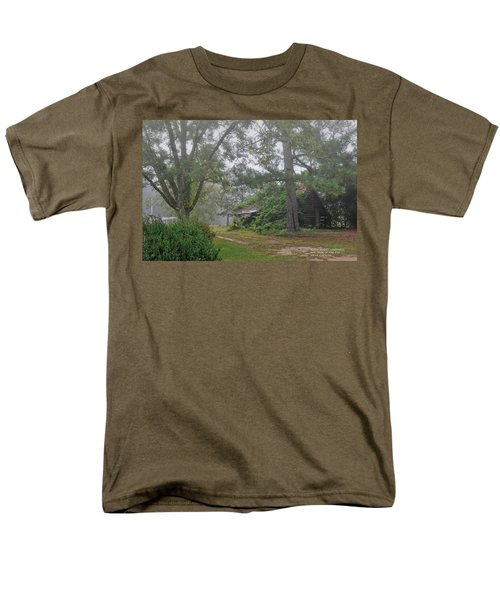 Men's T-Shirt  (Regular Fit) featuring the photograph Century-old Shed In The Fog - South Carolina by David Perry Lawrence