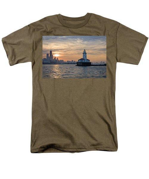 Chicago Lighthouse And Skyline Men's T-Shirt  (Regular Fit) by John Hansen