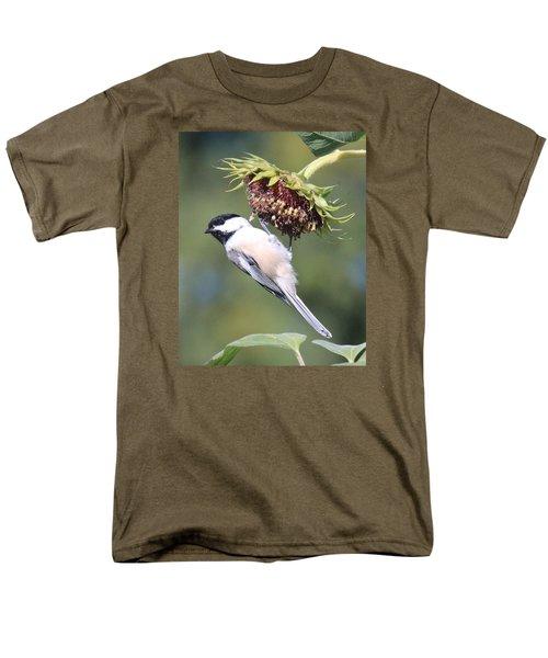 Chickadee On Sunflower Men's T-Shirt  (Regular Fit) by Lucinda VanVleck