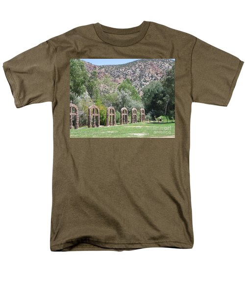 Men's T-Shirt  (Regular Fit) featuring the photograph Chimayo Sanctuary In New Mexico by Dora Sofia Caputo Photographic Art and Design
