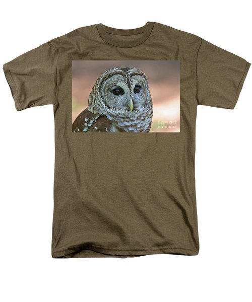 Closeup Of A Barred Owl  Men's T-Shirt  (Regular Fit) by Kevin McCarthy