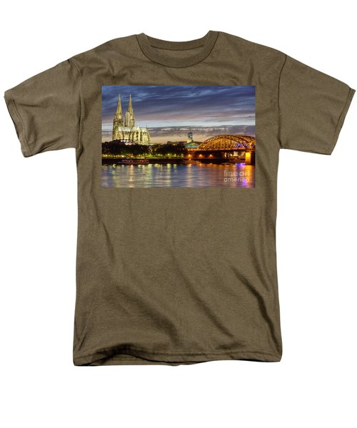 Cologne Cathedral With Rhine Riverside Men's T-Shirt  (Regular Fit) by Heiko Koehrer-Wagner