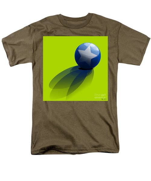 Men's T-Shirt  (Regular Fit) featuring the digital art Blue Ball Decorated With Star Green Background by R Muirhead Art