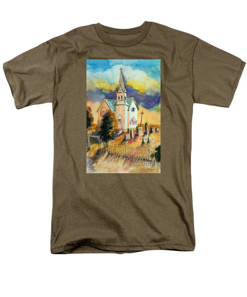 Men's T-Shirt  (Regular Fit) featuring the painting Country Church At Sunset by Kathy Braud