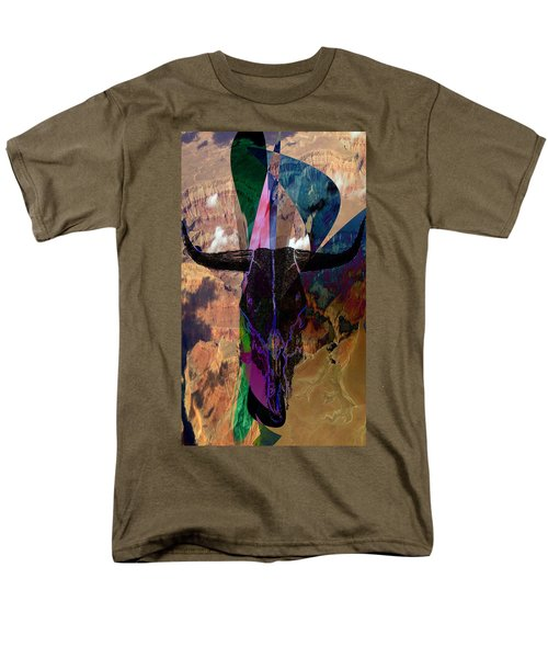 Men's T-Shirt  (Regular Fit) featuring the digital art Cowskull Over The Canyon by Cathy Anderson