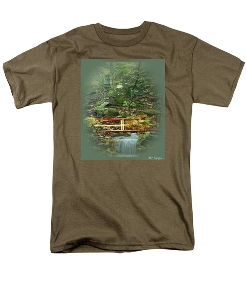 Men's T-Shirt  (Regular Fit) featuring the mixed media A Bridge To Cross by Ray Tapajna