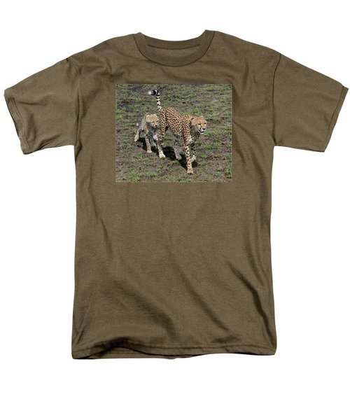 Men's T-Shirt  (Regular Fit) featuring the photograph Cute Cheetah Wait For Me Mommy by Tom Wurl