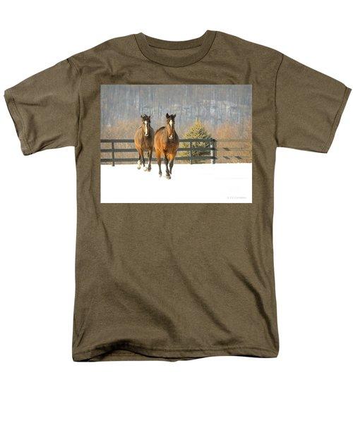 Men's T-Shirt  (Regular Fit) featuring the photograph Dashing Through The Snow by Carol Lynn Coronios