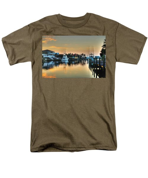 Men's T-Shirt  (Regular Fit) featuring the photograph Dawn On A Orange Beach Canal by Michael Thomas
