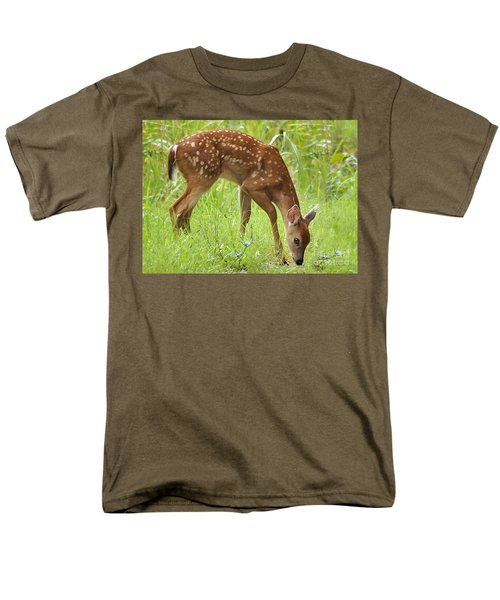 Men's T-Shirt  (Regular Fit) featuring the photograph Little Fawn Blue Wildflowers by Nava Thompson